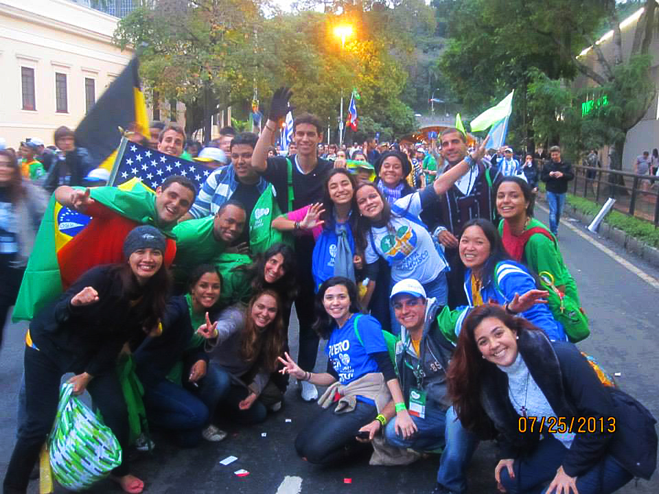 Bruna and friends during World Youth Day
