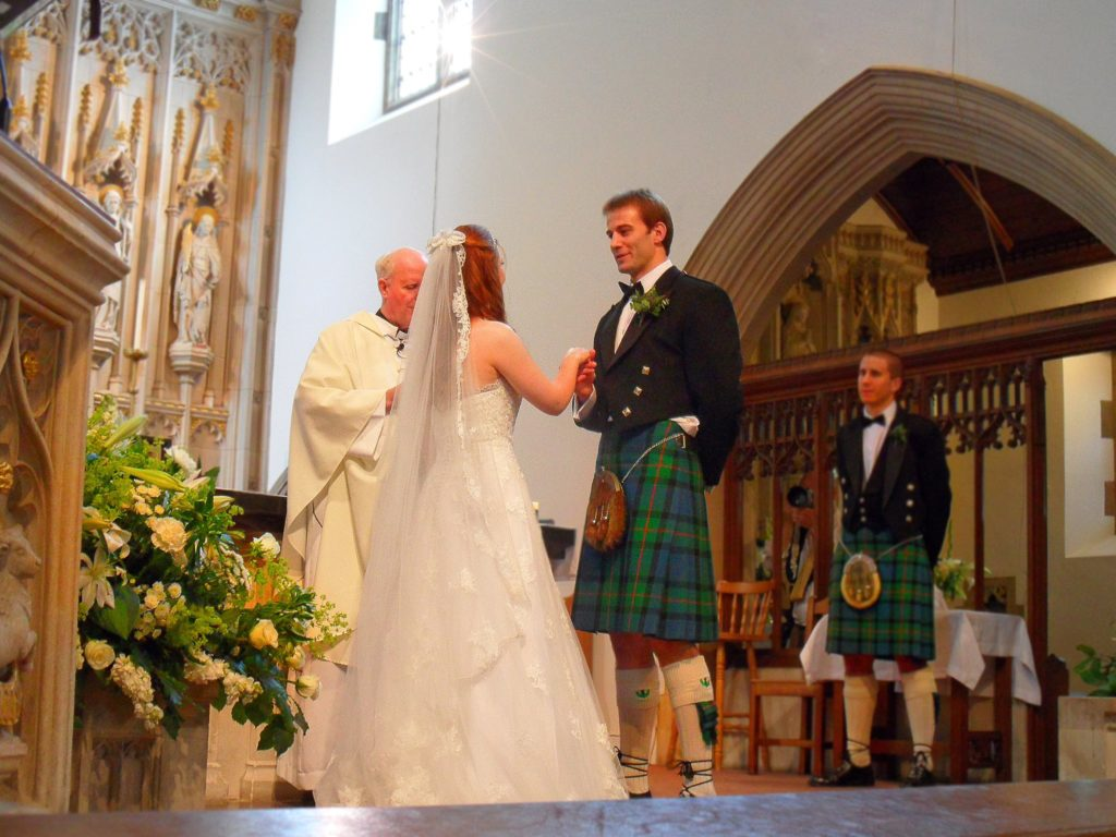 A young couple getting married in the Diocese of Westminster