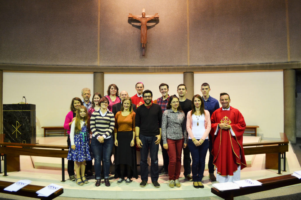The 2014-15 SPEC volunteer missionaries with the core community and Bishop John Arnold and Fr David Reilly