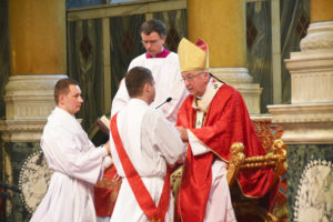 A seminarian being ordained a priest by his bishop (Photo: WYM)