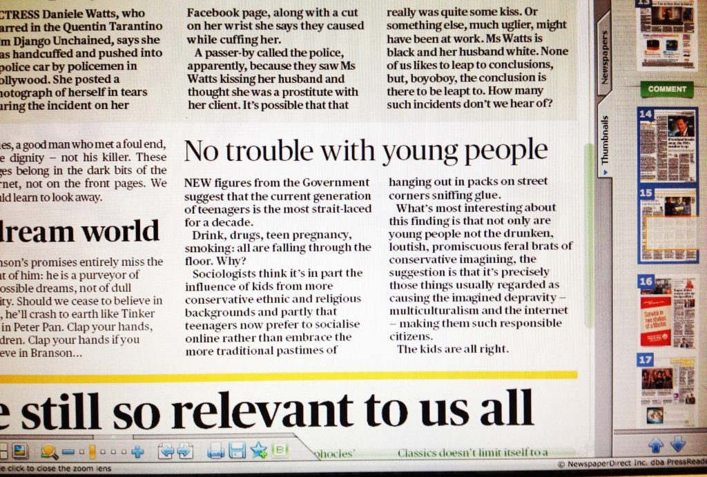 Good news about the youth in the Evening Standard
