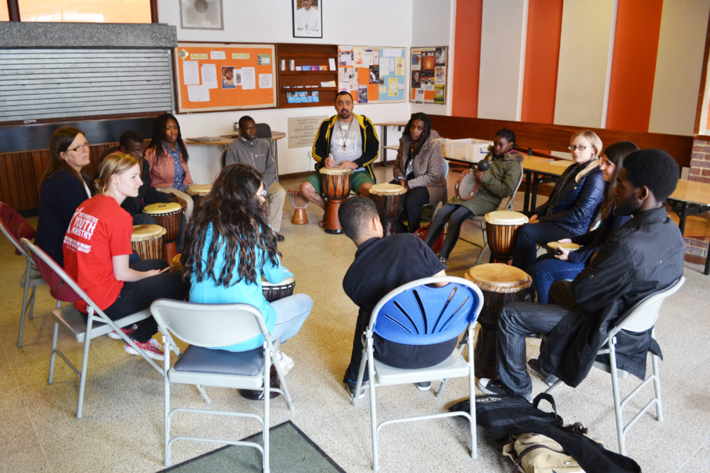 One of the workshops - drumming