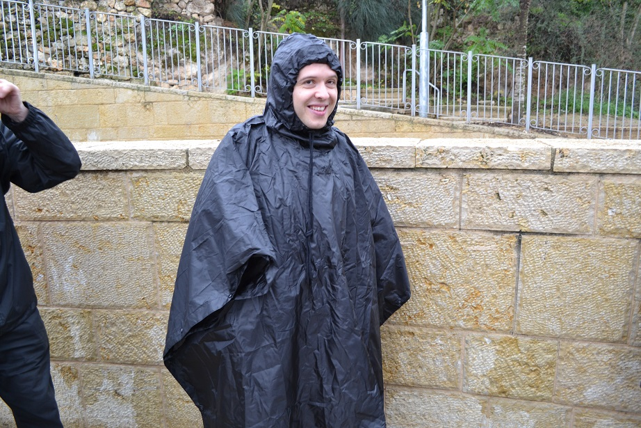 Fr Greg well-prepared for the wet weather!