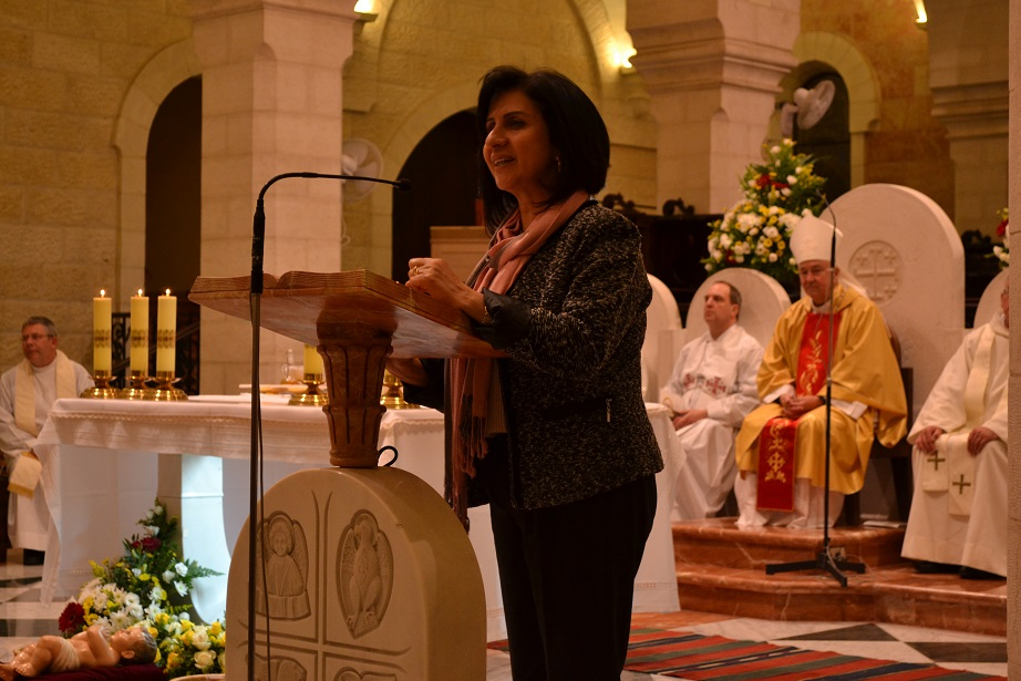 Bethlehem mayor, Vera Baboun, giving an inspiring talk at the end of Mass