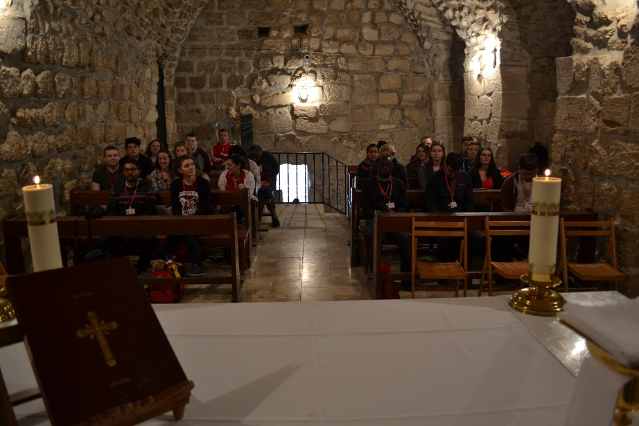 Preparing for Mass in the crusader chapel in Bethany