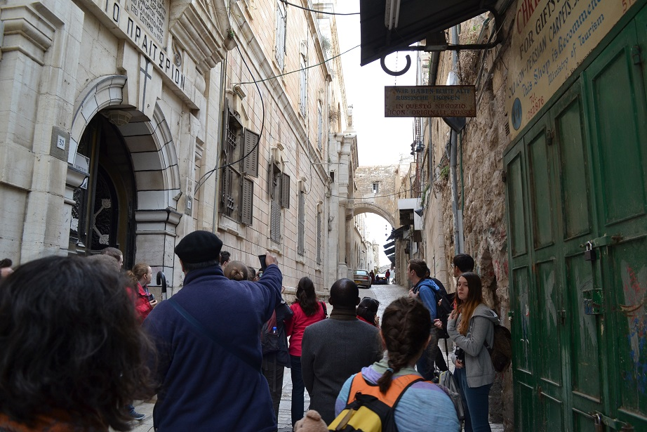 "We sang ""Jesus remember me when you come into your Kingdom"" as we walked the Via Dolorosa"