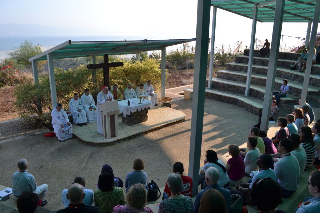 Cardinal Vincent giving his homily at the Mount of the Beatitudes