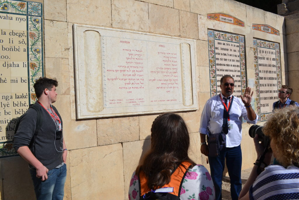 Our guide, Ibrahim, talking about the prayers on the wall at the Pater Noster church