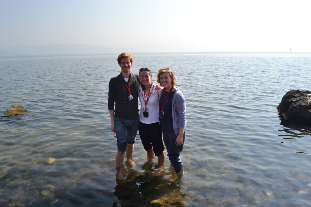 Putting our feet into the lovely Sea of Galilee