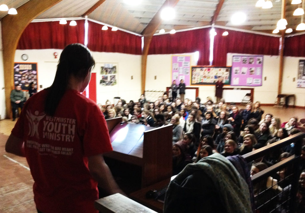 Christine speaking at Gumley School in South Isleworth