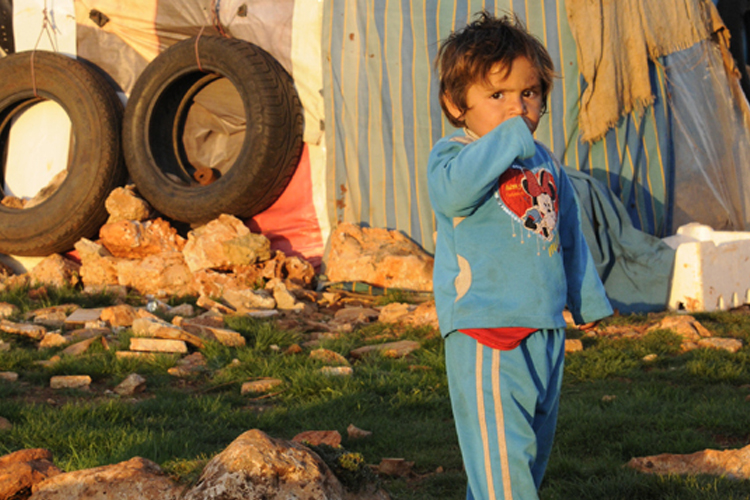 A young refugee from Syria now sheltering in El Kaa on the border of Lebanon