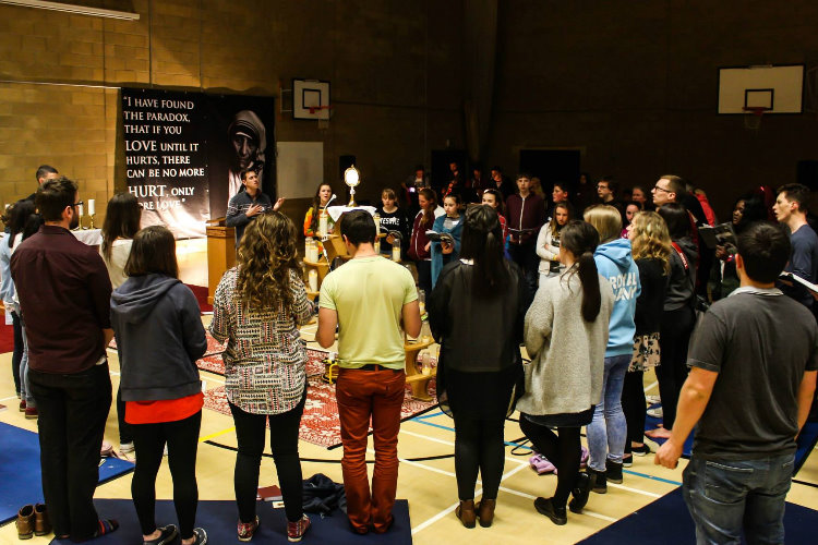 Adoration at the Youth 2000 Cardiff retreat