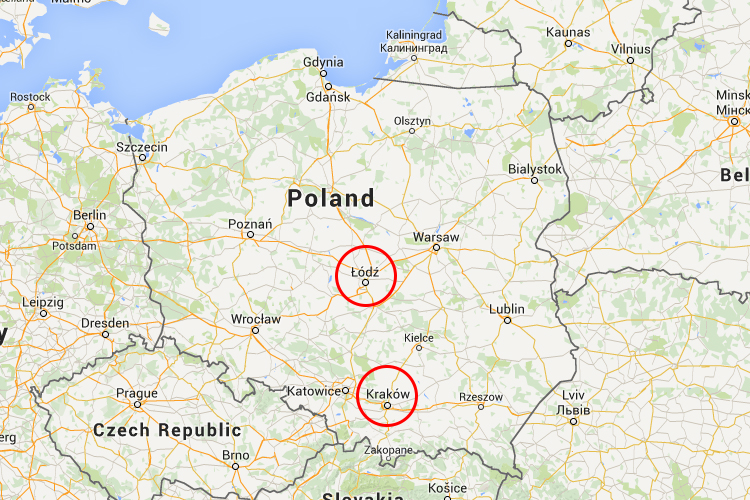 Lodz is approximately 3 hours drive from Krakow