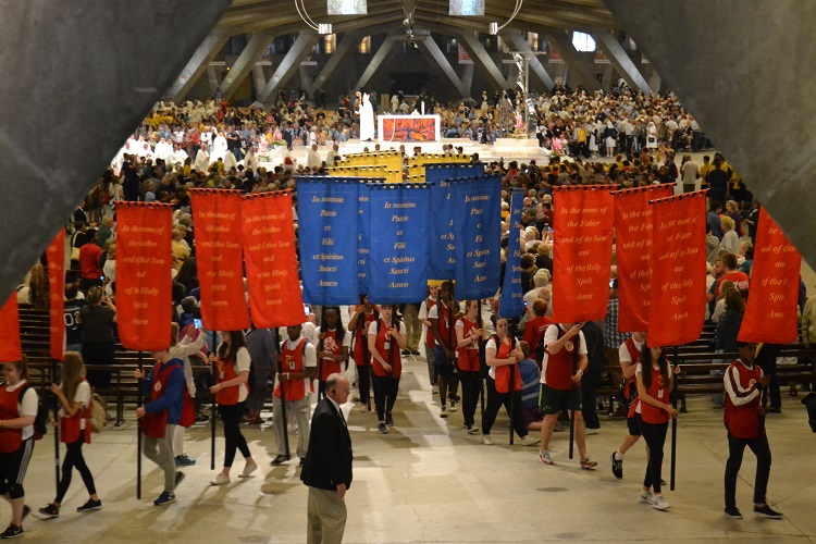The many banners of the Diocese of Westminster, carried by the Redcaps