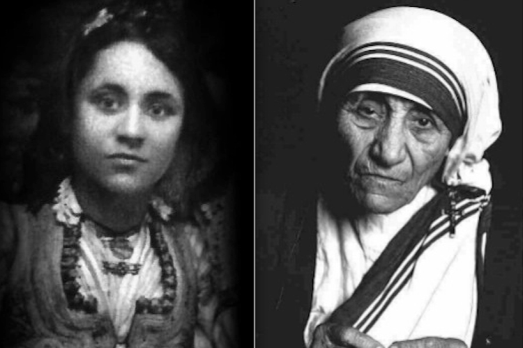 Mother Teresa, in her early years and later in life