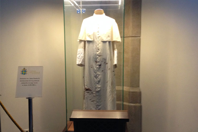 The vestments worn by John Paul II during the failed assassination attempt in 1981