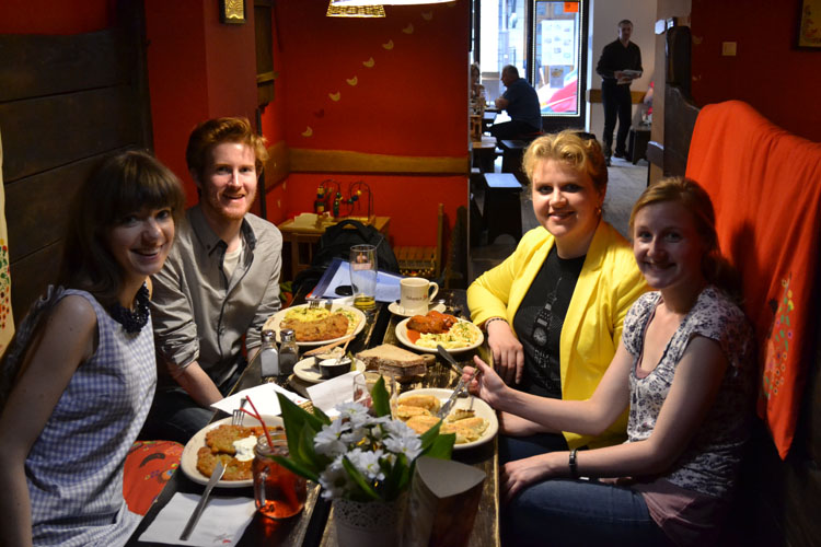 Friends eating at a Polish restaurant (Photo: Westminster Youth Ministry)