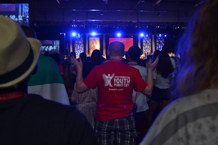 Westminster pilgrims during a Praise and Worship concert (Photo: WYM)