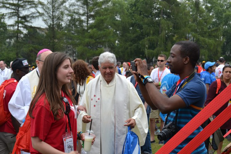 A Westminster pilgrim being interview at the English catechesis (Photo: WYM)