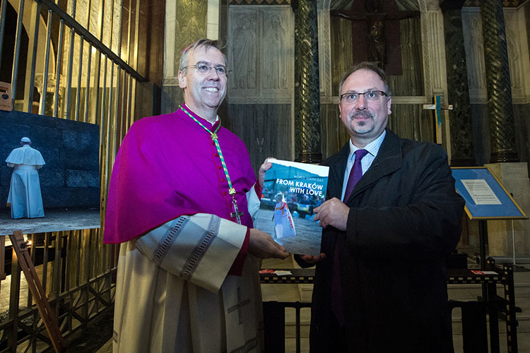 Bishop Nicholas Hudson with the Polish Ambassador at Westminster Cathedral for the launch of the World Youth Day photo book and exhibition (Photo: © Mazur/catholicnews.org.uk)