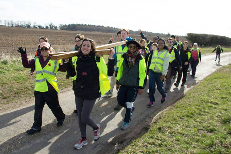 Young people taking part in the Student Cross walk