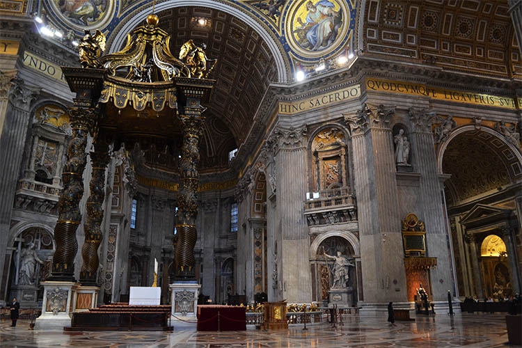 Inside St Peter's Basilica in the Vatican City (Photo: WYM)
