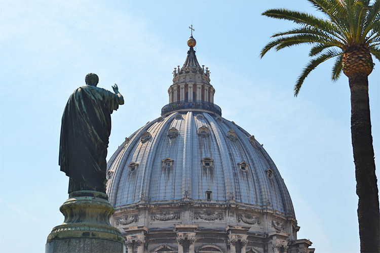 The dome of St Peter's Basilica, taken from inside the Vatican Gardens (Photo: WYM)