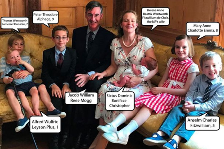 Jacob Rees-Mogg, his wife and six children