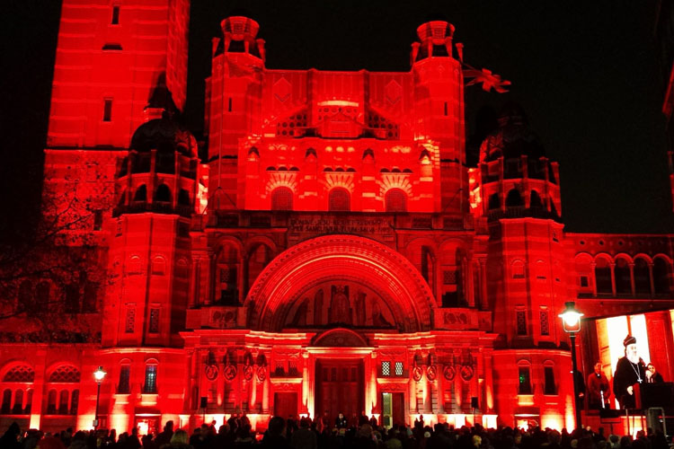 Westminster Cathedral glowing red for #RedWednesday in 2016 (Photo: WYM)